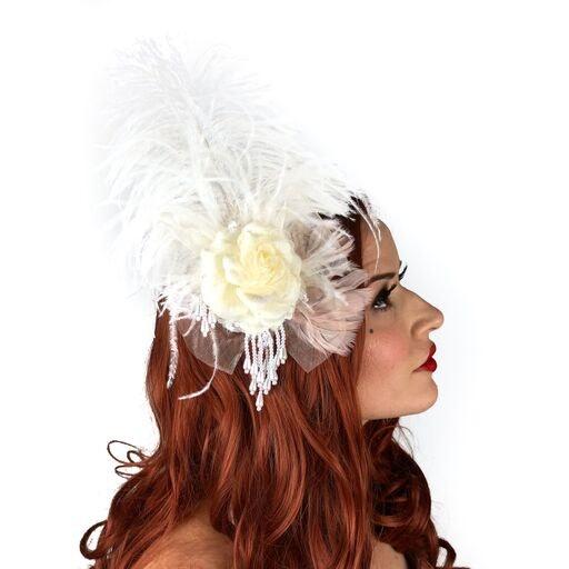 headbands for prom headbands for weddings headpiece bridal feather head piece- white headband feather pads- white feather headband