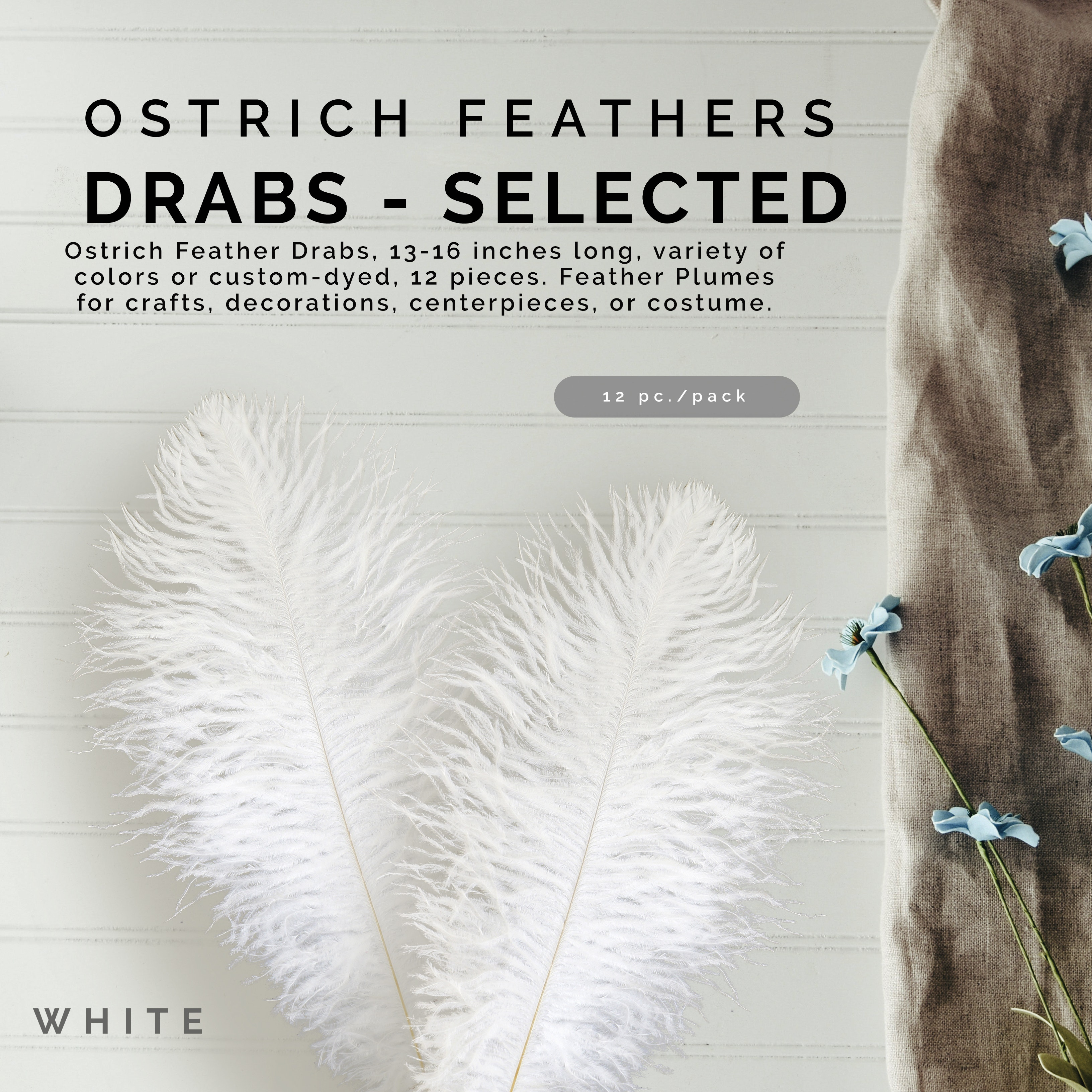 """Three black first grade selected drabs ostrich feather 270-320 mm 3 11-13/"""""""